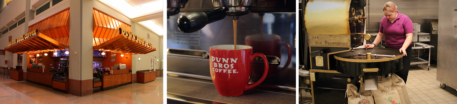 Dunn Brothers Coffee store front, espresso in mug and roasting coffee beans