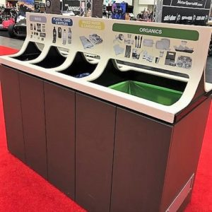 Kelber receptacle sort into four types of recycle and garbage